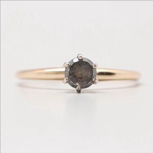 14K Yellow Gold Gray Diamond Solitaire Ring